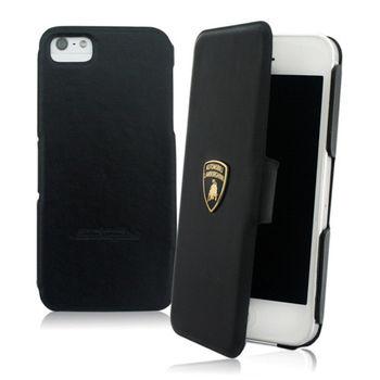 義大利Lamborghini授權 TROFEO IPHONE SE/5/5S 真皮側掀式皮套 (黑黃款)
