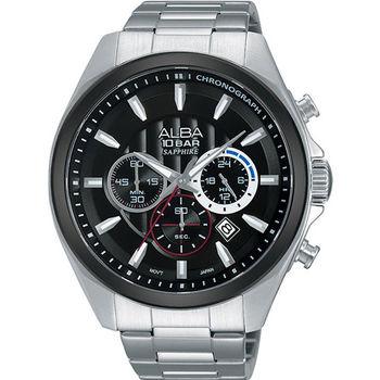 【ALBA】 街頭潮流 黑框層次三眼計時腕錶-銀/黑/45mm (VD53-X219D/AT3833X1)