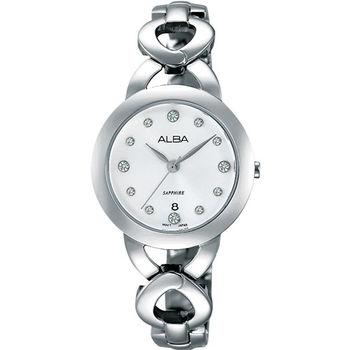 【ALBA】手環式晶鑽耀眼時尚腕錶–白面鋼 (VJ22-X216S/AH7J27X1)