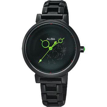 【ALBA】星空泡泡之旅腕錶VJ21-X026X-IP黑/綠色指針/30mm