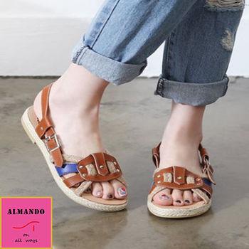 ALMANDO-SHOES ★麻編皮革撞色涼鞋★韓國空運 女性休閒鞋