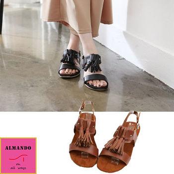 ALMANDO-SHOES ★軟墊流蘇涼鞋★韓國空運 女性休閒鞋
