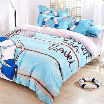 Lapin 夏季旅行 磨毛加大床包被套四件組-台灣製
