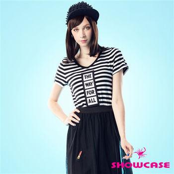 SHOWCASE V領條紋黑白個性T恤-162240C