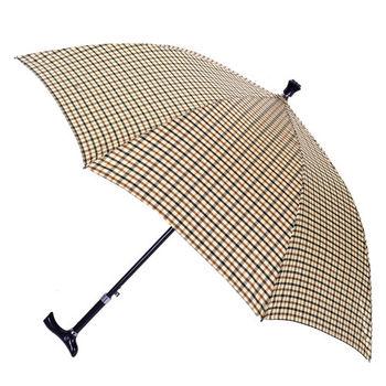 【2mm】經典格紋5段式拐杖自動直傘/健行傘(卡其)