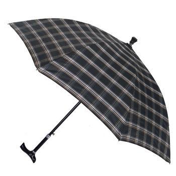 【2mm】經典格紋5段式拐杖自動直傘/健行傘(黑灰)