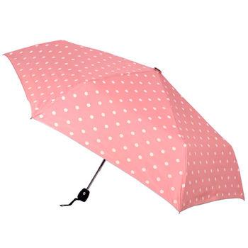 純色圓點 銀膠抗UV自動開收傘(粉紅色)