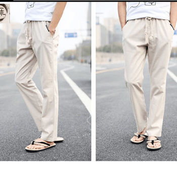 【M.G】L-3XL亞麻棉型男休閒長褲 ( 透氣、吸濕排汗) -卡其色