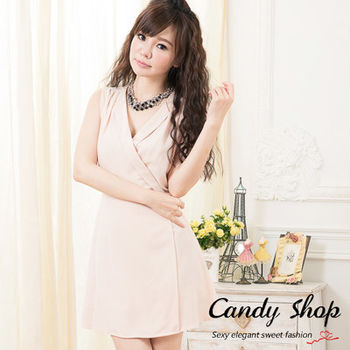 Candy小舖 古典優雅 交叉 V 字修飾 無袖優雅洋裝 ( 黑 / 白 / 淺粉 ) 3色選