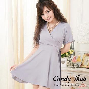 Candy小舖 古典優雅 前 V 修飾 顯瘦裙裝 ( 灰 / 黑 ) 2色選