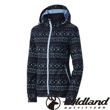 【荒野wildland】女彈性印花抗UV輕薄外套 深灰色 (0A31995-93)