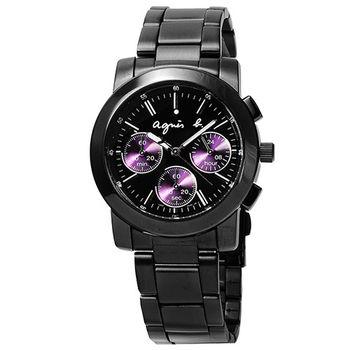 agnes b. 小B魔幻炫紫三眼計時腕錶-黑 / BWY058P1