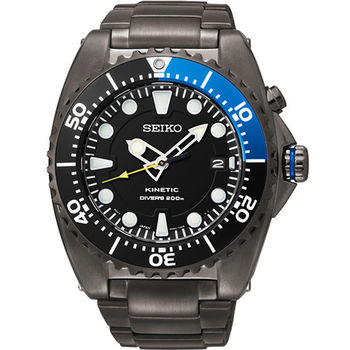 SEIKO Kinetic 怒海征服者200米潛水錶-IP黑x藍/44mm 5M82-0AF0B(SKA579P1)