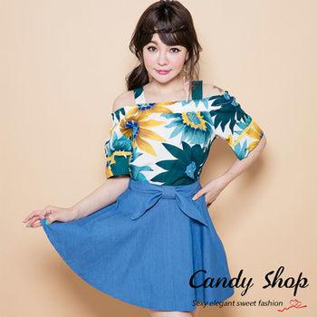 Candy 小舖  南洋風花朵露肩寬版上衣
