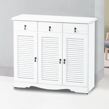 Bernice-典雅3.8尺純白三門三抽百葉鞋櫃