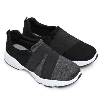 【Pretty】韓風潮流雙色彈力繃帶拼接休閒鞋-黑灰、黑色