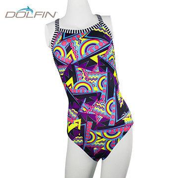 兒童款 美國拓芬DOLFIN女童運動連身泳裝Flashback
