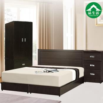 【品生活】簡約優質四件式房間組2色可選(床頭片+床底+衣櫥+床頭櫃)雙人
