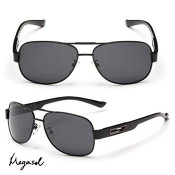 【MEGASOL】雷朋款寶麗萊UV400偏光太陽眼鏡(鏤空航空版MS2160)