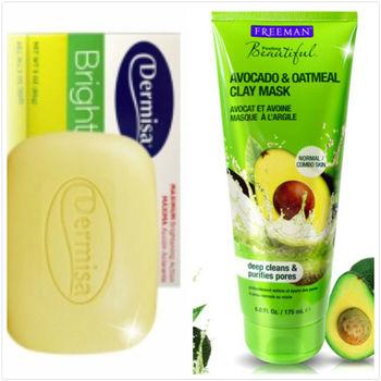 【Dermisa】淡斑嫩白皂(85g )*2+【Freeman】酪梨燕麥緊緻面膜(175ml)*1