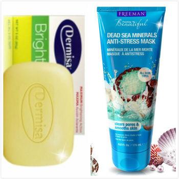 【Dermisa】淡斑嫩白皂(85g )*2+Freeman水洗式死海礦鹽淨白面膜(175ml)*1