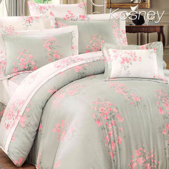 【KOSNEY】花霏  雙人100%天絲TENCE六件式兩用被床罩組送天絲夏被