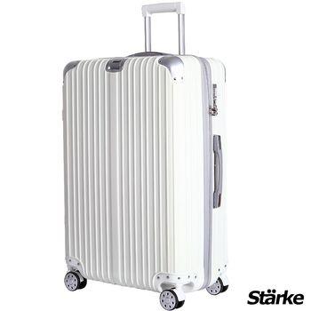 【德國設計Starke】A系列 28吋 PC+ABS 鏡面防爆拉鍊硬殼行李箱-白色
