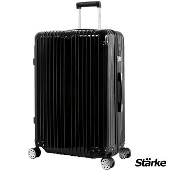 【德國設計Starke】A系列 28吋 PC+ABS 鏡面防爆拉鍊硬殼行李箱-黑色