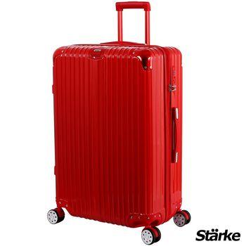 【德國設計Starke】A系列 28吋 PC+ABS 鏡面防爆拉鍊硬殼行李箱-紅色
