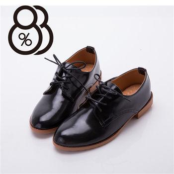 【88%】簡約亮皮革基本款 踝靴短靴 繫帶舒適低粗跟好走(黑色)