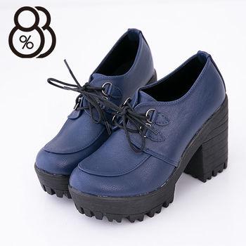【88%】韓版街頭10cm增高踝靴皮革繫帶 鋸齒超粗跟 2色