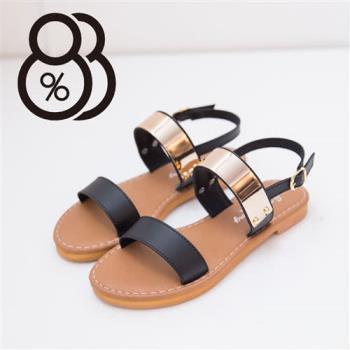 【88%】皮革質感 金屬寬字涼鞋 後環扣超低跟粗跟涼鞋 個性女孩必備(2色)