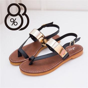 【88%】皮革質感 金屬寬帶套趾涼鞋 後環扣超低跟粗跟涼鞋 個性女孩必備(3色)