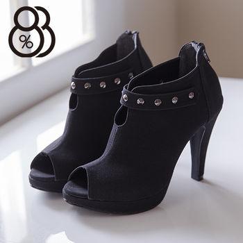 【88%】個性金屬鉚釘 性感魚口細高跟短靴 時尚質感絨布 踝靴(黑絨)