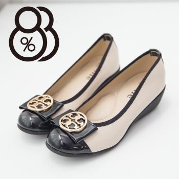 【88%】素雅中國風圖騰金屬蝴蝶結楔型中跟 坡跟娃娃鞋 乳膠底舒適好穿(2色)