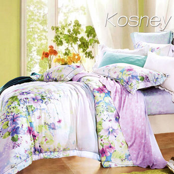 【KOSNEY】意韻幽香  特大100%天絲TENCE六件式兩用被床罩組送天絲夏被