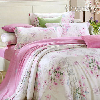 【KOSNEY】幸福味道  加大100%天絲TENCE六件式兩用被床罩組送天絲夏被