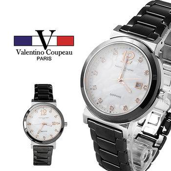 【Valentino范倫鐵諾】晶鑽黑陶瓷手腕錶(銀)