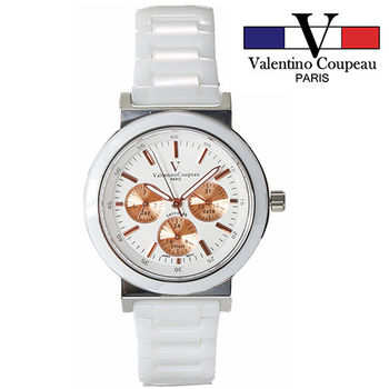 【Valentino范倫鐵諾】全陶瓷炫彩三眼手腕錶(金)