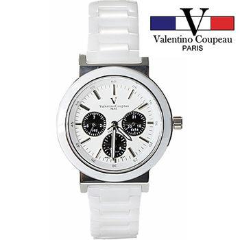【Valentino范倫鐵諾】全陶瓷炫彩三眼手腕錶(黑)