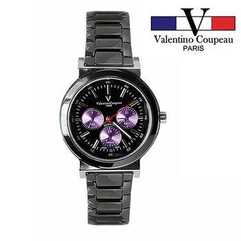 【Valentino范倫鐵諾】黑陶瓷炫彩三眼手腕錶(紫)