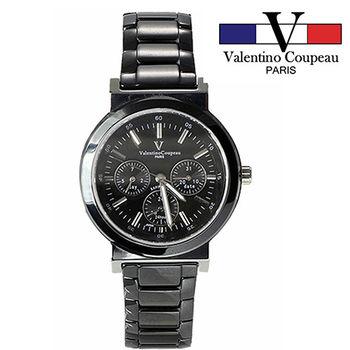 【Valentino范倫鐵諾】黑陶瓷炫彩三眼手腕錶(黑)