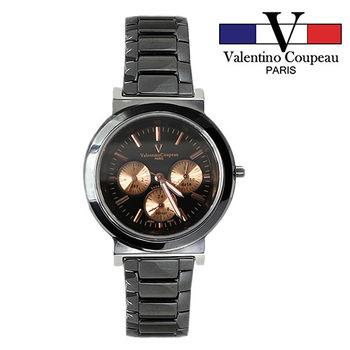 【Valentino范倫鐵諾】黑陶瓷炫彩三眼手腕錶(金)