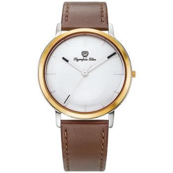 Olympia Star 奧林比亞之星-玩色時尚腕錶/40mm- 白面咖啡帶-送帆布錶帶 58055MSR