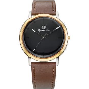 Olympia Star 奧林比亞之星-玩色時尚腕錶/40mm- 黑面咖啡帶-送帆布錶帶 58055MSR