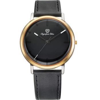 Olympia Star 奧林比亞之星-玩色時尚腕錶/40mm- 黑面黑帶-送帆布錶帶 58055MSR