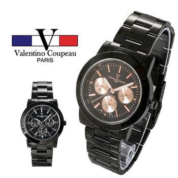 【Valentino范倫鐵諾】精密黑鋼炫彩三眼手腕錶