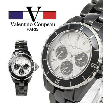 【Valentino范倫鐵諾】黑陶瓷計時外框三眼手腕錶(黑)