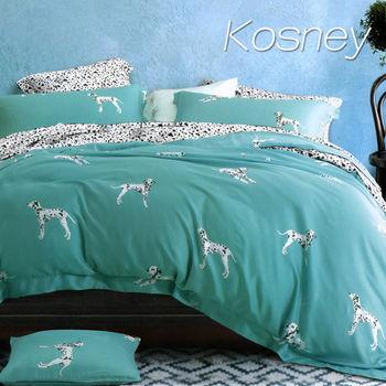 【KOSNEY】大麥丁綠  加大100%天絲TENCE六件式兩用被床罩組送天絲夏被