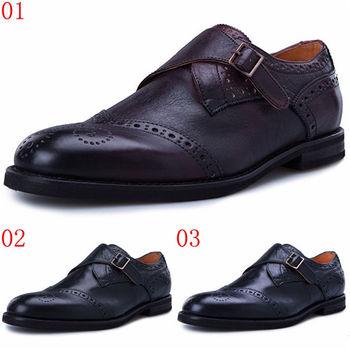 (預購)pathfinder款3144英倫時尚新款搭扣休閑皮鞋PF男士低幫刷色潮流商務鞋(JHS杰恆社)
